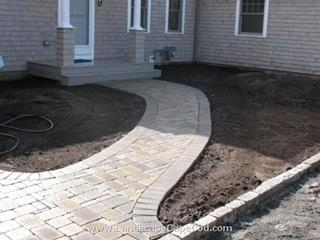 Interlocking paver walkway