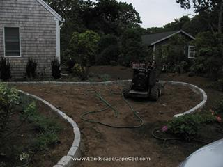 Installation of driveway cobblestone edging and cobble stone apron in Brewster