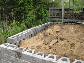 Interlocking retaining wall installations on Cape Cod.