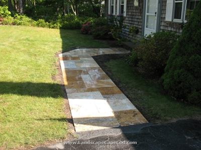 Click to view album: New Travertine Walkway with Granite Step