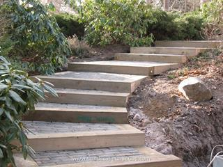 New Landscape Timber and Paver Steps