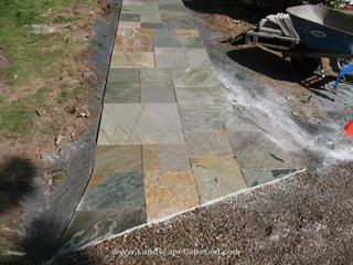 Travertine Walkway with Granite Step in Chatham